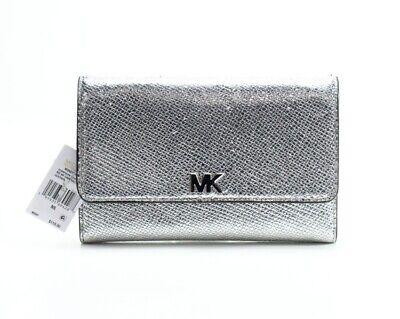 0fcdfb0c416d Michael Kors NEW Silver Medium Multi-Function Trifold Leather Wallet  118-   073