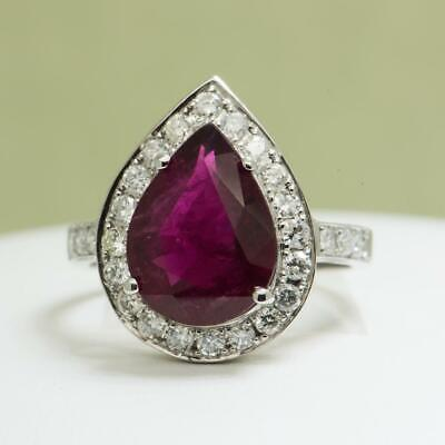 Rare Unheated 4.55ctw Top Color Rubellite & F-VS Diamond 14k White Gold Ring