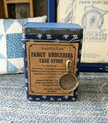 LG  Antique Pantry Tin Blue Calico Samuel A Clark Fancy Groceries Free Shipping