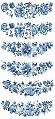 "6 pcs Blue Delft Flowers 3-1/2"" X 1-1/4"" Waterslide Ceramic Decals Bx"