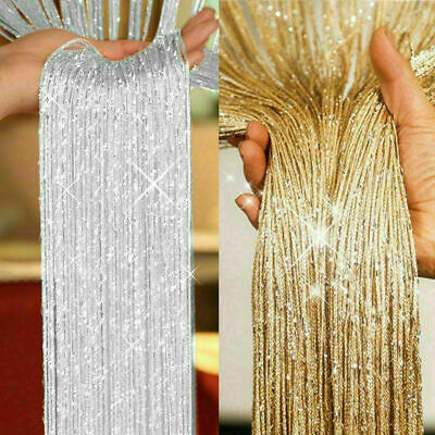 String Curtain Panels Door Fly Screen & Room Divider Glitter Voile Net Curtains