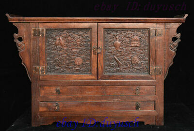 Old China Huanghuali Wood Carved 8 Auspicious Symbol Statue Drawer Cabinet desk