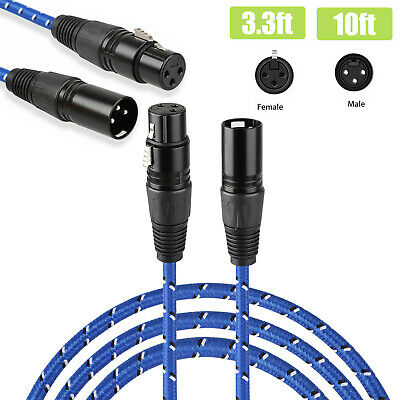 3 Pin XLR Male to Female Microphone Audio Balanced Patch Lead Mic Cable 3FT/10FT