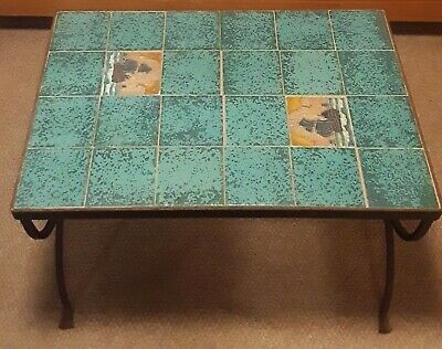 Arts & Crafts Table / Wrought Iron Base /Handcrafted Arts & Craft Ship Tiles !