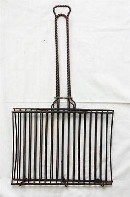antique victorian HANDMADE heavy WIRE FIREPLACE large GRILL TOOL camping scouts