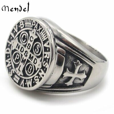 MENDEL Mens Catholic St Saint Benedict Cross Ring Stainless Steel Exorcism Medal