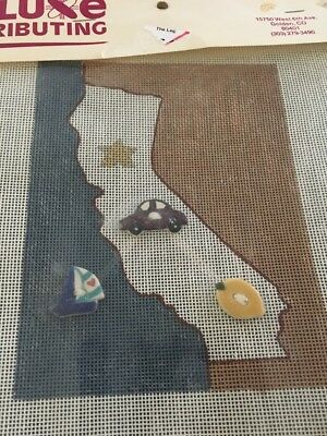 New Small Handpainted Needlepoint Canvas California Map Buttons