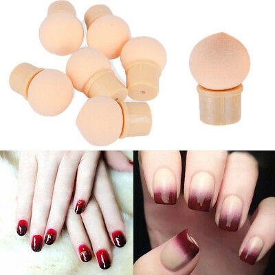 6Pcs Sponge Heads Reusable UV Gel Nail Art Painting Gradient Shading Pen Brush
