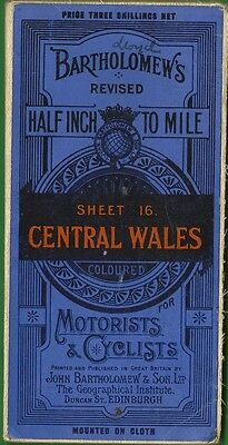 BartholomewsTourist/Cyclist Map 16 CENTRAL WALES 1925