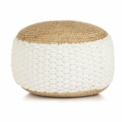 vidaXL Woven/Knitted Pouffe Jute Cotton 50x35cm White Foot Rest Stool Seat