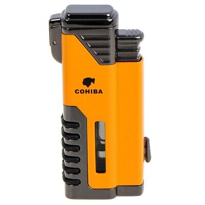 COHIBA Windproof Cigar Lighter 4 Torch Metal Gas Cigarette Butane Lighter Yellow