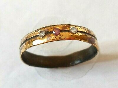 EXP POLISHED,DETECTOR FIND 13-15th CENTURY MEDIEVAL WEDDING RING W/REAL GEMSTONE