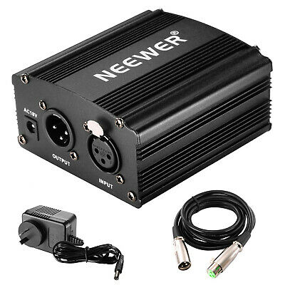 Phantom Power Supply with Adapter and XLR Audio Cable for Any Condenser