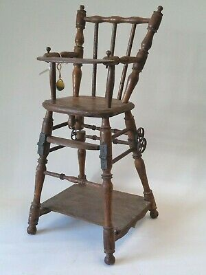 Vintage  Antique Wood Childs Baby Doll High Chair Folding Table with Wheels