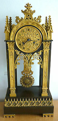 Fine Gothic Revival Portico Mantle Clock, French circa 1865