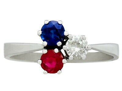 0.28ct Ruby & 0.33ct Sapphire 0.23ct Diamond & 14ct White Gold Trilogy Ring