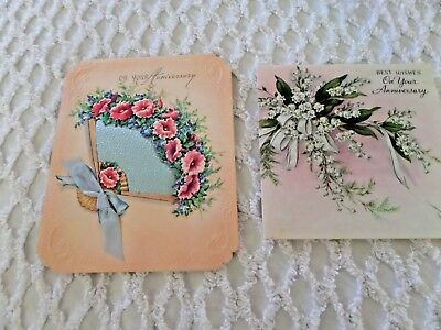 2 Vtg Anniversary Greeting Cards Satin Fan & Lily of the Valley