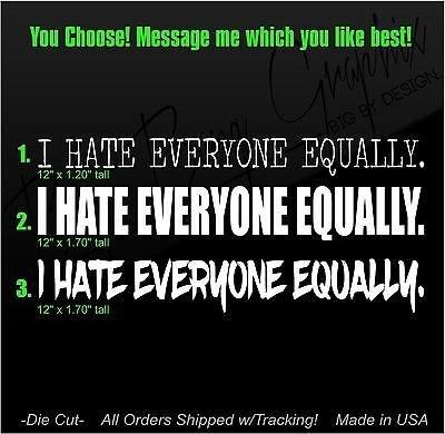 """Anti-social Decal """"hate everyone equally"""" Car Window Sticker High Quality Funny"""