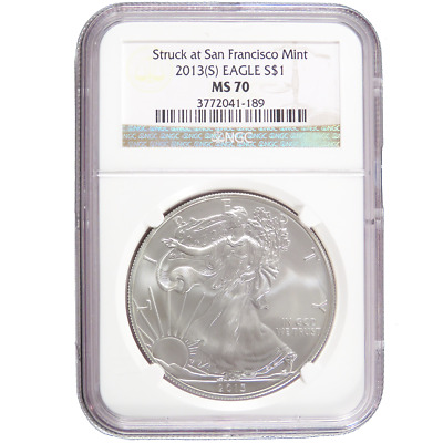 2013 (S) $1 American Silver Eagle NGC MS70 Brown Label