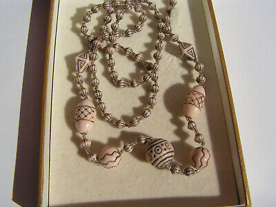 Lovely Vintage Art Deco Long Egyptian Revival Style Glass Bead Necklace