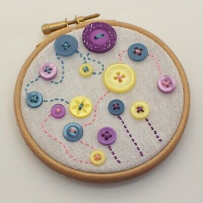 Mini Handmade Embroidery in Hoop Abstract Button Flower and Sky Art Hand Sewn