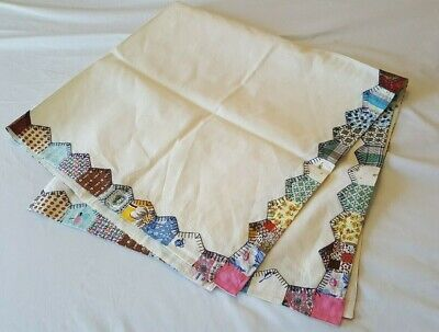 Nice Vintage 1952 Tablecloth with Hand Quilted Edge-Signed & Dated