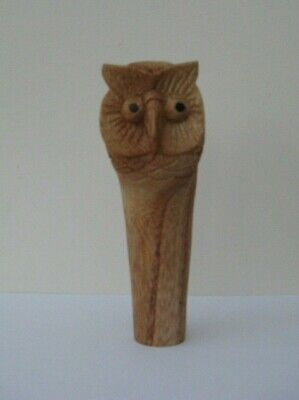 WOODEN CARVED  OWL  HEAD  STICK Handle  for Walking stickmaking