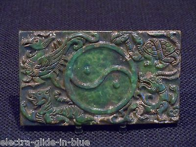 Vintage Chinese Hand Carved Jade Inkstone With Phoenix/Tiger Decoration (Cji005)