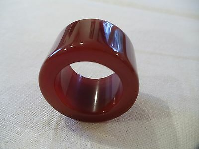 Chinese Hand Carved And Polished Burnt Orange Agate Archers Thumb Ring (Ca9)