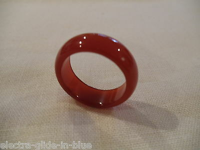 Chinese Hand Carved And Polished Burnt Orange Agate Ring ( Ca00)