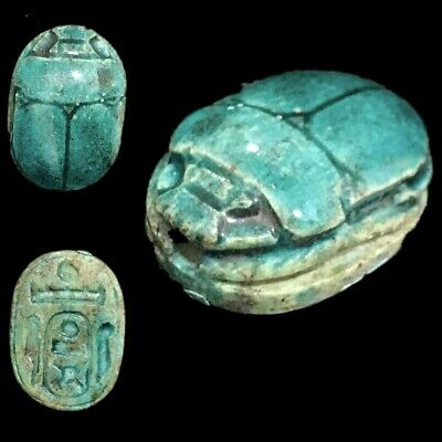 Beautiful Ancient Egyptian Glazed Scarab 300 Bc (5)
