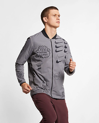 271b484e71c7 Nike Nathan Bell Men s Printed Running Jacket Full Zip M Gray Gumsmoke  Track New