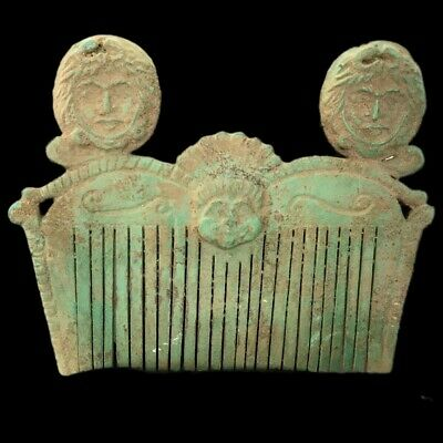 ROMAN ANCIENT BRONZE  COMB WITH 3 BUSTS - 200-400 AD (1) OVER 16.7 cm WIDE !!!!