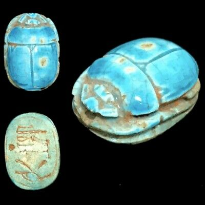 Beautiful Ancient Egyptian Glazed Scarab 300 Bc (6)