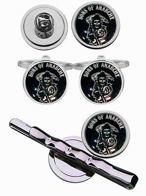 SONS OF ANARCHY LOGO CUFFLINKS or TIE SLIDE or LAPEL PIN or GIFT PACK OF 3