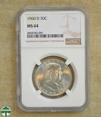 1960- D Franklin Half Dollar- Ngc Certified - Ms64