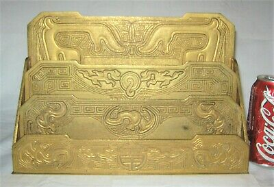 Antique Tiffany Studios Ny Solid Gold Bronze Lg Chinese Letter Paper Rack Holder