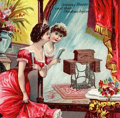 Victorian New Home Sewing Machine1800's Parlor Mirror Fan Advertising Trade Card