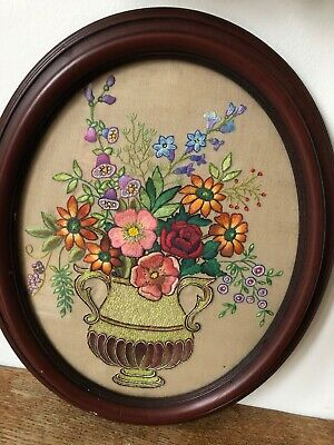 Vintage Hand Embroidered Picture Of A Vase Of Flowers