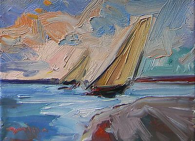 JOSE TRUJILLO - Artist ORIGINAL OIL PAINTING California IMPRESSIONISM Sailboats