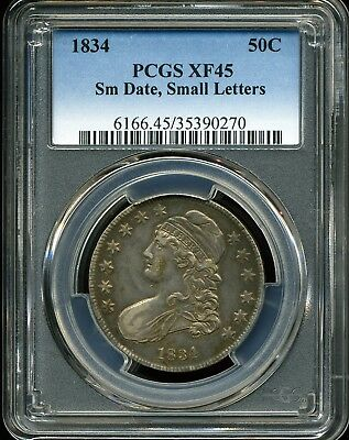1834 Small Date Small Letters 50C Capped Bust Half Dollar XF45 PCGS 35390270