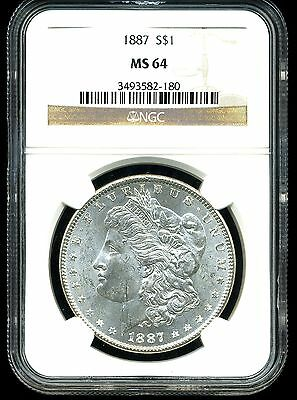 1887 $1 Morgan Silver Dollar MS64 NGC - 3493582-180