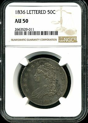 1836 50C Capped Bust Silver Half Dollar Lettered Edge AU50 NGC 2663529-011