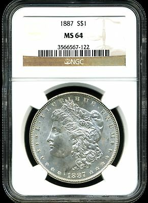 1887 $1 Morgan Silver Dollar MS64 NGC 3566567-122