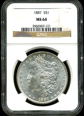 1887 $1 Morgan Silver Dollar MS64 NGC 3566567-121