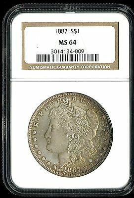 1887 $1 Morgan Silver Dollar MS64 NGC 3014134-009