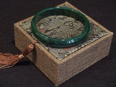 Chinese Carved & Polished Emerald Green Jade Bangle Cased.