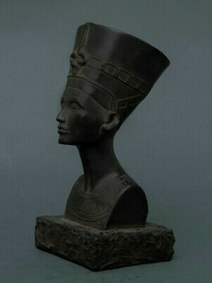 Ancient EGYPT EGYPTIAN NEFERTITI ANTIQUE STATUE Queen Head Carved Black Stone BC