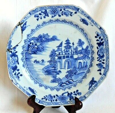 C18Th Chinese Blue And White Plate Decorated With Temple Lake Within A Border