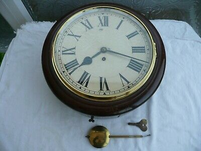 Antique, School / Station Wall Clock, Fusee Movement, Excellent Condition.